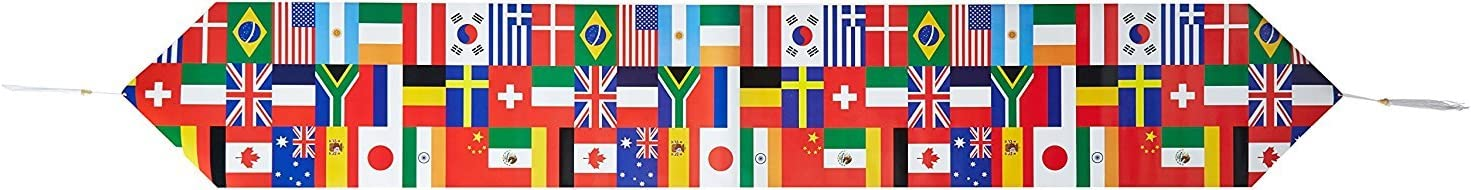 Printed International Flag Table Runner Party Accessory (1 count) (1/Pkg)