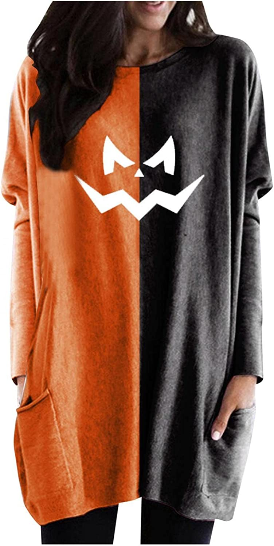 UOCUFY Halloween Sweatshirt for Women, Womens Pumpkin Print Casual Long Sleeve Shirts with Pocket Oversized Tunic Tops