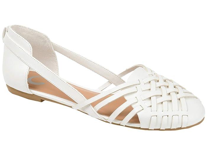 1950s Shoe Styles: Heels, Flats, Sandals, Saddle Shoes Journee Collection Ekko Flat White Womens Shoes $49.99 AT vintagedancer.com