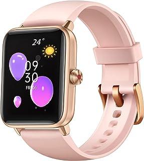 Dirrelo Smart Watch, relojes inteligentes para mujer, teléfonos Android y iPhone, IP68 impermeable, pantalla táctil de 1,55 pulgadas, monitor de frecuencia cardíaca en tiempo real, monitor de oxígeno en sangre y monitor de sueño, color rosa