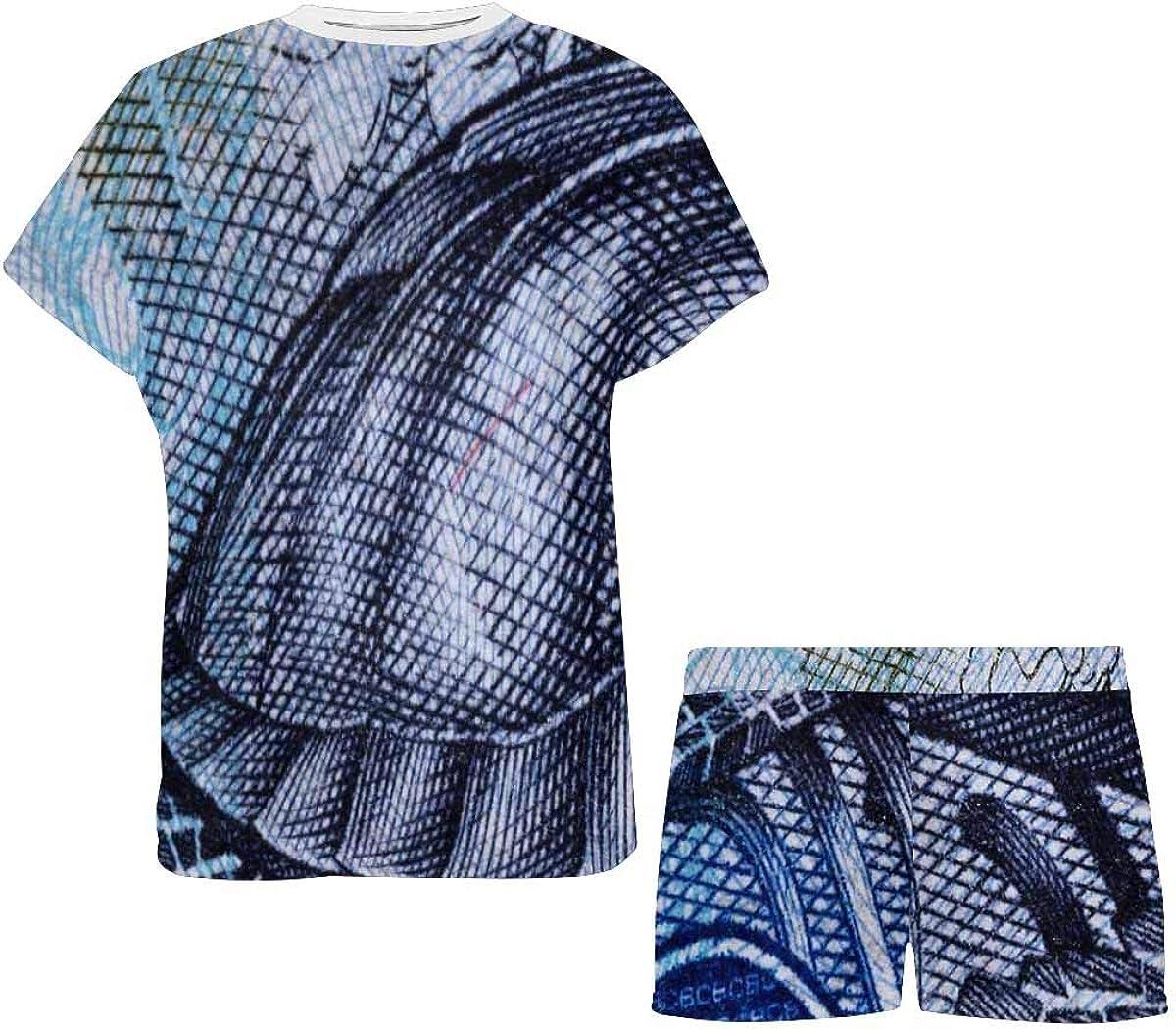 INTERESTPRINT Sea Turtle Image on Banknotes Women's Breathable 2 Piece Shorts Pajama Sleepwear Set