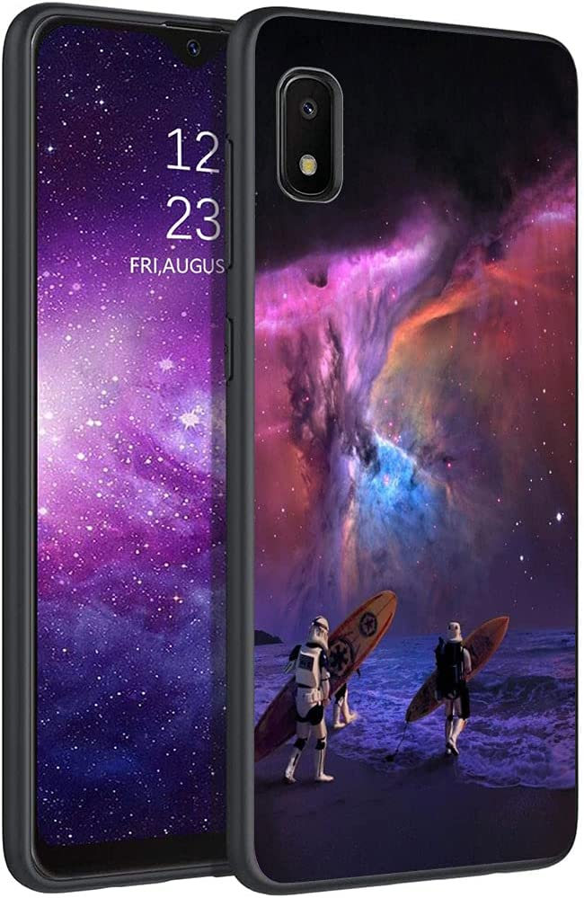 Esakycn for Galaxy A10e case, Phone Case Silicone Black with Rose Pattern Design Ultra Slim Shockproof Soft TPU Girls Women Protective Cover Skin for Samsung Galaxy A10e 5.83 inch. Astronaut 2