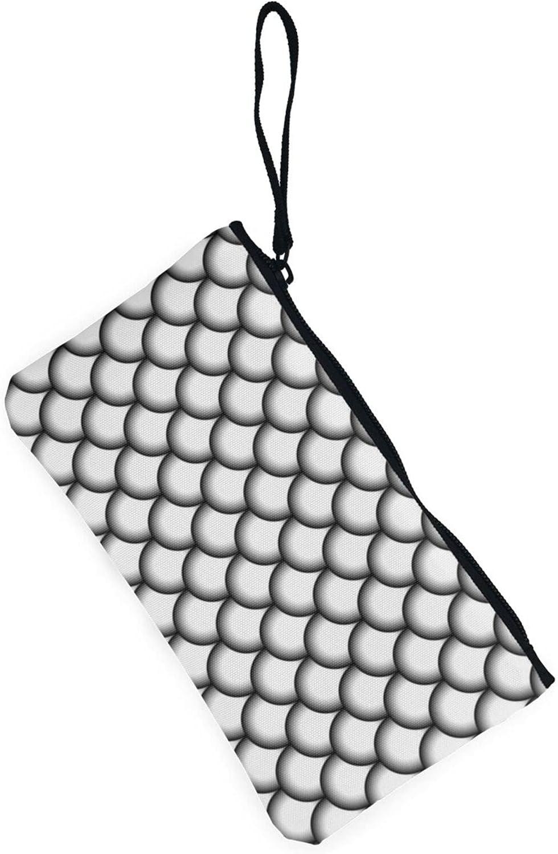AORRUAM White fish scale pattern Canvas Coin Purse,Canvas Zipper Pencil Cases,Canvas Change Purse Pouch Mini Wallet Coin Bag