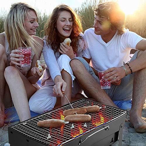 Delavala Stainless Steel Folding Portable Mini Picnic BBQ Grill and Smokeless Kamedo Stove, Standard, Black
