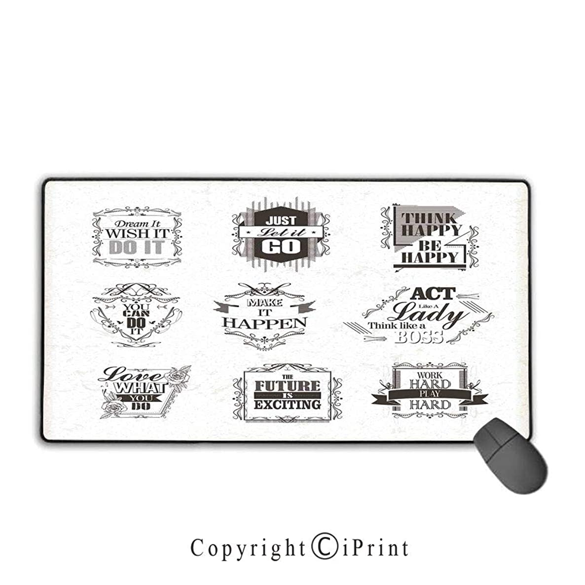 Stitched Edge Mouse pad,Quote,Positive Quotes Optimism on The Way to Success Monochromic Classic Artwork Print,Beige Brown, Non-Slip Rubber Base,15.8