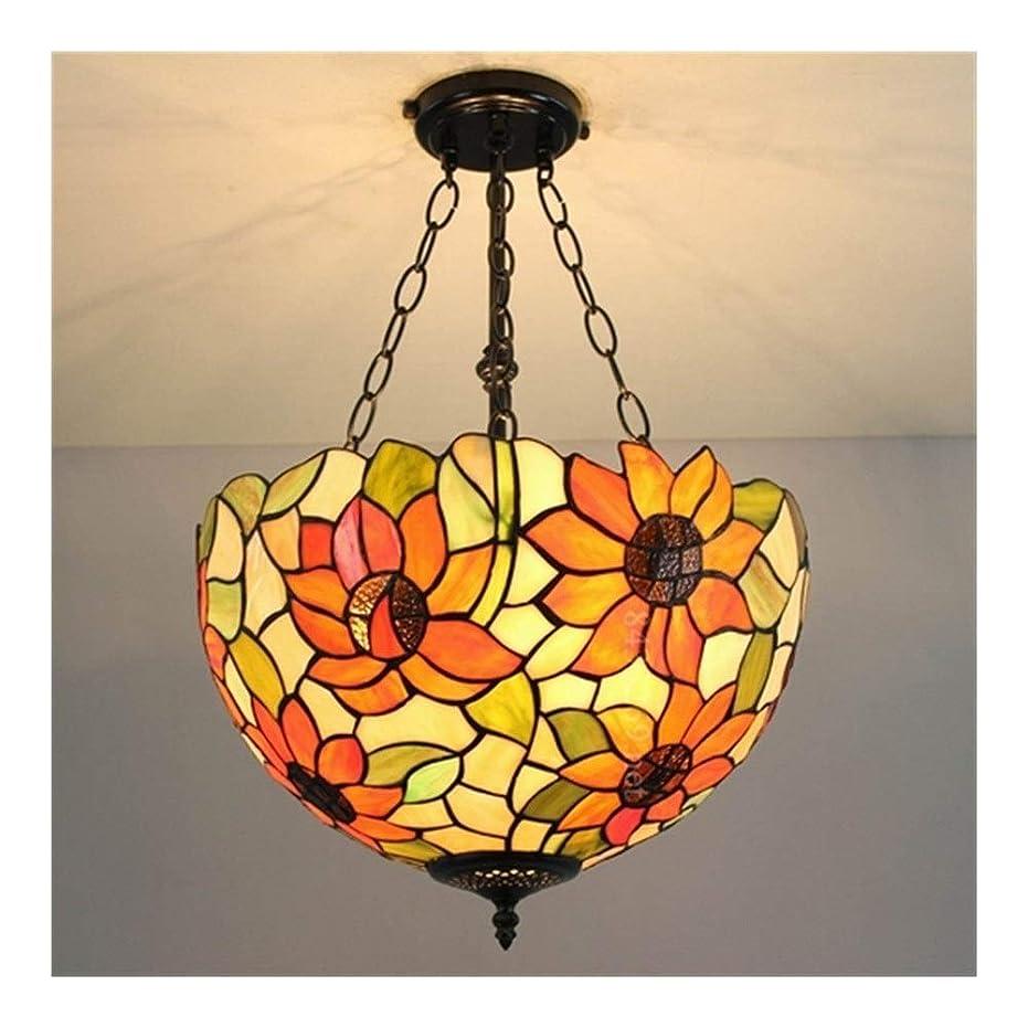 ローズキャッチ野球16インチ北欧シャンデリア、手作りのシンプルモダンステンドグラス、寝室ランプ、家の装飾ランプ