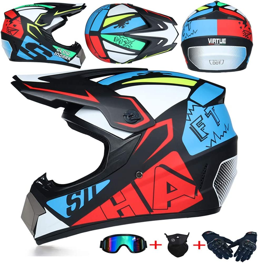Jcldg Moto Kids Pro Kinder Crosshelm Motorrad Helm Motocross Helme Handschuhe Maske Brille Set Von 4 Bmx Mx Quad Atv Enduro Motorradhelm Kinderhelm Sport Sicherheit Sport Freizeit
