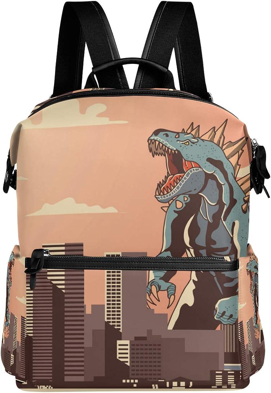 MONTOJ Howling Godzilla City Sunset Leather Travel Bag Campus Backpack