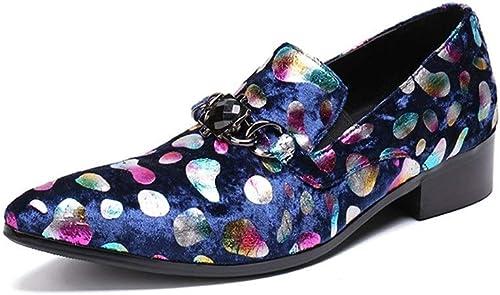 Rui Landed Oxford for Man Chaussures Formelles Slip on Style Haute Qualité en Cuir Véritable Exquis Diamant Mode à Main levée Croquis Boîte de Nuit (Couleur   Bleu, Taille   38 EU)
