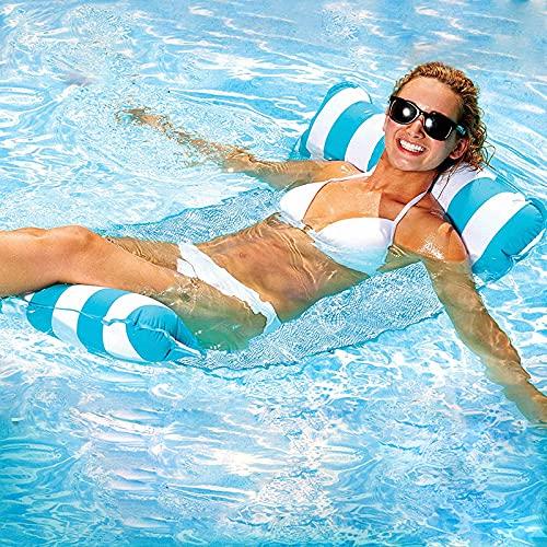 GUBOOM Hamaca Flotante, Hamaca de Agua 4 en 1 Tumbona Flotante Hamaca Flotante Colchoneta Piscina Tumbona Colchoneta Piscina Adultos Cama Flotante de Agua (Azul)