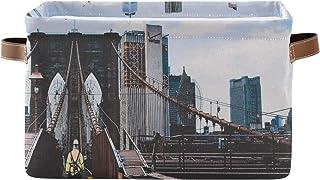ALarge Panier de rangement vintage New York Brooklyn Bridge Panier à linge pliable Organiseur de jouets Cube Sac avec poig...