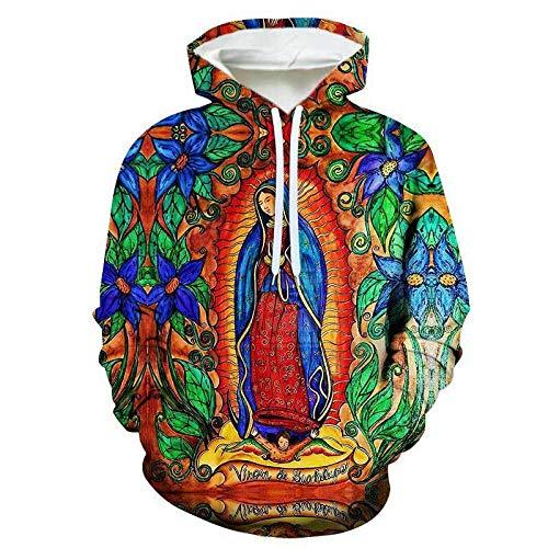 LAYG 2021 Hoodie Hombre 3D Sudaderas con Capucha Jersey Virgen María +Regalo Babero/Multicolor / 2XL