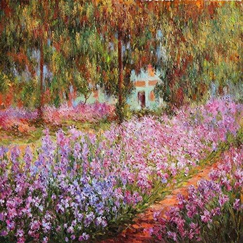 LegendArte Stampe su Tela - Claude Monet Il Giardino, cm. 90x90 - Quadro su Tela, Decorazione Parete
