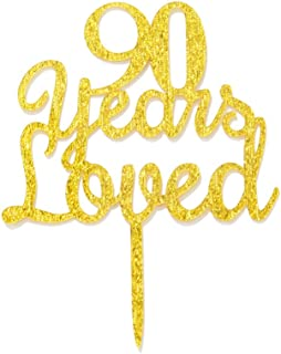 Qttier 90 Years Loved Cake Topper Happy 90th Birthday Anniversary Party Decoration Premium Quality Acrylic Gold