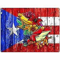 プエルトリコのカエルのスズのロゴ、レトロな金属スズのロゴは男性の女性、バーのスズ星の壁の装飾、家族の装飾のロゴ、田舎の台所に掛けられた金属の皿、農家のバスルームの装飾12x8インチ