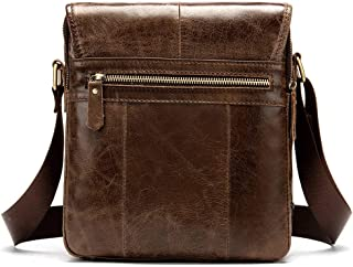 Mens Bag Retro Casual Men's First Layer Cowhide Flip Messenger Bag Leather Men's Bag Shoulder Bag High capacity