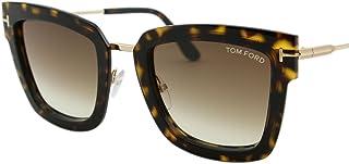 b7f7d8ee3e 2018 Tom Ford Lara-02 FT0573 Women Dark Havana   Gold Square T Logo  Sunglasses