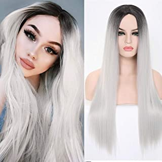 Benegem 24 inches Silver Long Wigs Straight 3 Tone Middle Part Synthetic Halloween Party Wigs Color 1T88/89