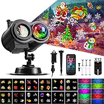 Christmas Ocean Wave Snowflake Light Projector ACVCY Outdoor Waterproof 2-in-1 Moving Patterns Rotating LED Projection Lamp for Christmas Halloween Party Garden Decorations - 12 Slides 10 Colors