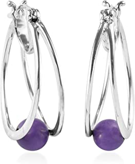 Turquoise 925 Sterling Silver Hoops Hoop Earrings for Women Jewelry Gift (Purple/Blue) 2.80 ctw