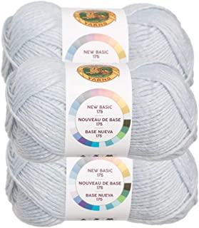 Lion Brand (3 Pack) New Basic Acrylic & Wool Soft Ice Light Blue Yarn for Knitting Crocheting Medium #4