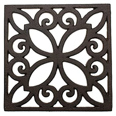 Decorative Cast Iron Trivet For Kitchen Or Dining Table | Square with Vintage Pattern - 6.5 x 6.5  | With Rubber Pegs/Feet - Recycled Metal - Vintage, Rustic Design - Rust Brown Color - by Comfify