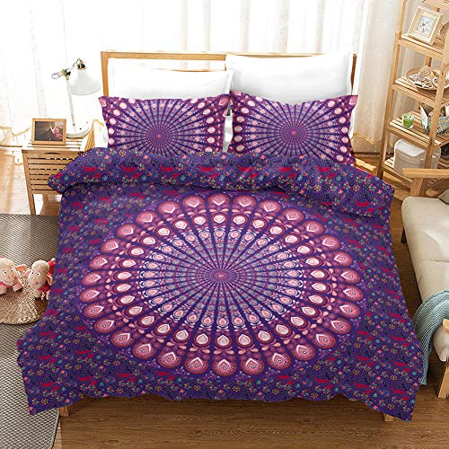 3D Duvet Covers Purple Circular Pattern 78.7 X 78.7 inch Double–Microfiber Quilt Cover Bedding Set With Pillocases 3 Pcs Bedding Set