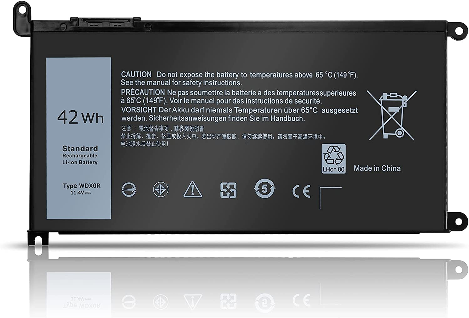 WDX0R 42Wh Laptop Battery for Dell Inspiron 15 5000 7000 Series 15 5567 7579 5565 5568 5570 5578 5579 7560 7569 7570 7586 13 5379 7378 5368 5378 7368 17 5765 5767 5770 14 7460 Latitude 3189 3490 P58F