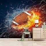 Papier Peint Intissé Flamme Rugby 120x100Cm 3D Poster Geant Mural Photo Sticker Salon Canapé Tv Fond Mur Peinture Fond D'Écran