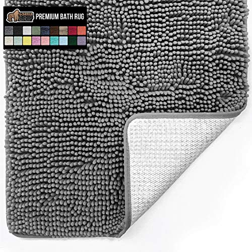 Best bathroom rugs - Gorilla Grip Original Luxury Chenille Bathroom Rug Mat, 30x20, Extra Soft and Absorbent Shaggy Rugs, Machine Wash Dry, Perfect Plush Carpet Mats for Tub, Shower, and Bath Room, Gray