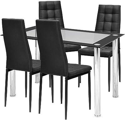 Amazon.com: Juego de sillas de mesa de comedor con parte ...