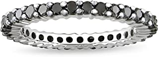 1.50 Carat (ctw) 14K Round Black Diamond Ladies Eternity Wedding Stackable Ring Band 1 1/2 CT, White Gold