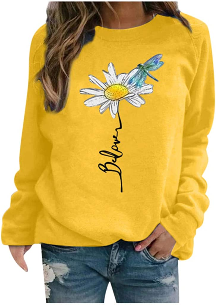 Sweatshirts for Women Graphic,Women's Sweatshirts Crewneck Flower Print Vintage Tops Loose Long Sleeve Pullover Shirts