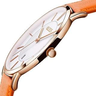 OLEVS Women Oversized Minimalist Watches - Orange/Tan Boyfriend Style Waterproof Date Leather Watches Strap for Girls Casual Bithday Gifts, Unisex