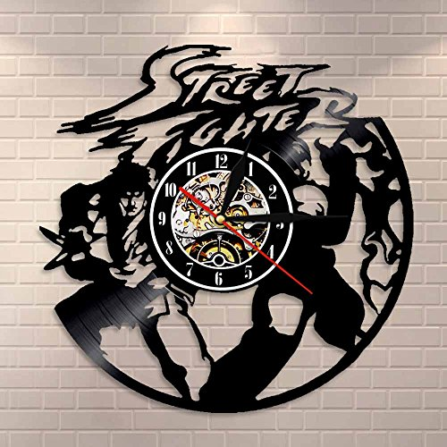 BFMBCHDJ Arcade-Spiel Vinyl Clock Fighting Character Cartoon Silhouette Vintage beleuchtete Wanduhr Cool Home Décor