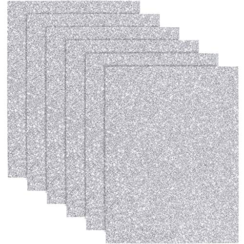 Christmas Glitter Heat Transfer Vinyl HTV for T-Shirts 10 x 12 Inches 6 Sheets (Silver)