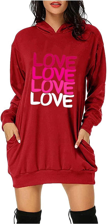 Ranking TOP10 Hamleo Women's Low price Casual Print Sweatshirt Day Dress Valentine's Pul