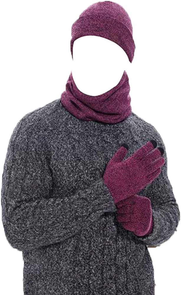 3 PCS Beanie Hat Scarf Touch Screen Gloves Winter Set Knitted Hat Scarf Mittens for Men