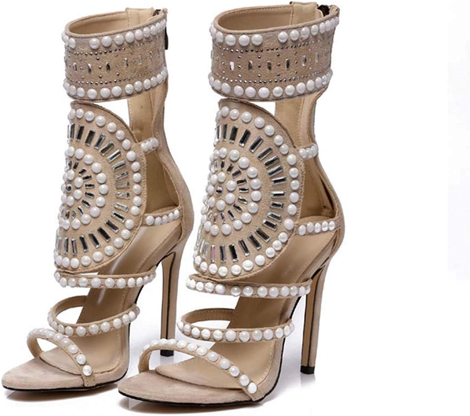 Women Embellished Sparkly Open Toe High Heel Ankle Strap Rhinestone Sandals for Women