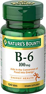 Nature's Bounty Vitamin B6 Supplement, Supports Metabolism and Nervous System Health, 100mg, 100 Tablets, 3 Pack