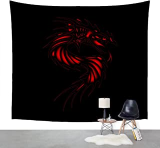 KingKang Red Dragon on a black background Tapestry Headboard Wall Art Bedspread Dorm Tapestry,Tapestry Wall Hanging Indian Wall Art (XL-150230cm/60 X 90