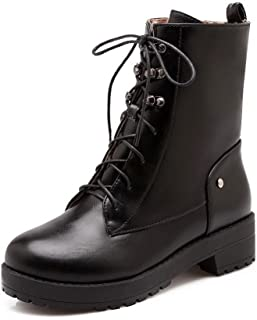 Women's Pu Low Heels Round Closed Toe Solid Lace Up Boots