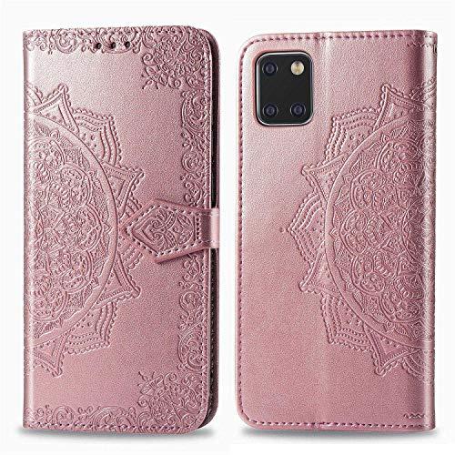 Bear Village Hülle für Galaxy Note 10 Lite/Galaxy A81, PU Lederhülle Handyhülle für Samsung Galaxy Note 10 Lite/Galaxy A81, Brieftasche Kratzfestes Magnet Handytasche mit Kartenfach, Roségold