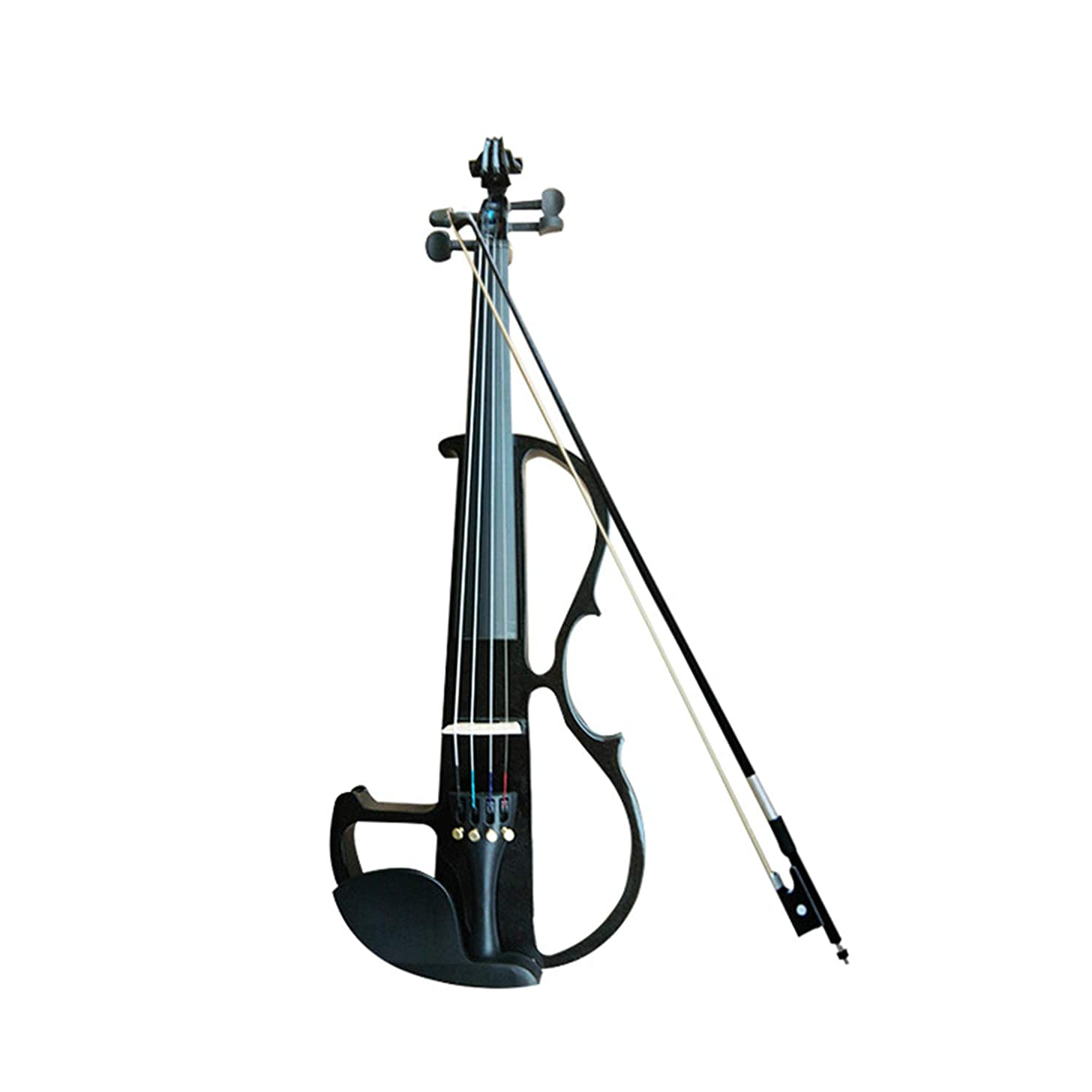 Xch Full Size 4/4 Acoustic Electric Violin Fiddle Solid Wood Body Ebony Fingerboard Pegs Chin Rest Tailpiece with Bow Hard Case Tuner,Black