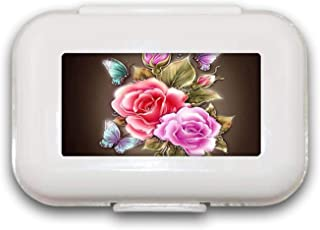 Sunok Whitelotous Kleurrijke Roze Rose Pill Box Pill Case Pill Organizer Decoratieve Boxen Pill Box voor Pocket of Purse -...
