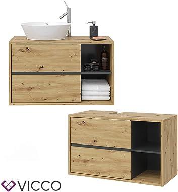 Vicco Wachtischunterschrank Viola Badschrank Waschbeckenunterschrank hängend (Anthrazit-Eiche)