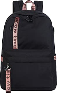 Mygreen School Bags for Teenager Girls College Student Rucksack fits 15.6inch Laptop/Notebook Fashion Embroidery Backpack Casual Daypacks with USB Charging Port-Black Pink