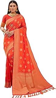 رداء حفلات 6203 مصنوع من حرير الباناراسي الهندي بتصميم برتقالي للسيدات الهندي من بوليوود آرت