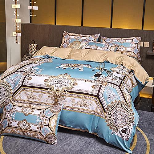 Juego De Ropa De Cama 135x190,Luz de estilo nórdico Luz de lujo lavado Seda de seda, juego de cuatro piezas, soleado de verano, cama para el hogar, ropa de cama para edredones-F_1,8 m de cama (4pcs)