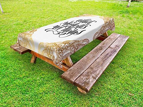 ABAKUHAUS Gezegde Tafelkleed voor Buitengebruik, Sier Cursive Font Tekst, Decoratief Wasbaar Tafelkleed voor Picknicktafel, 58 x 120 cm, Ginger Orange